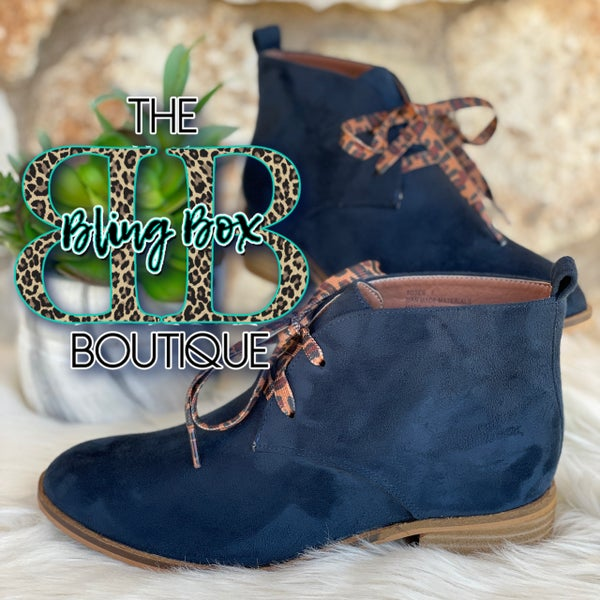 Corkys Navy Totes Lace Up Booties