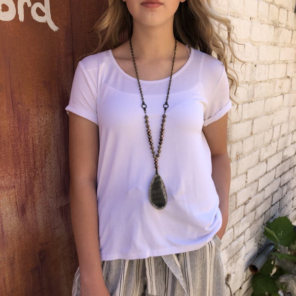 White High Low Short Sleeve Top