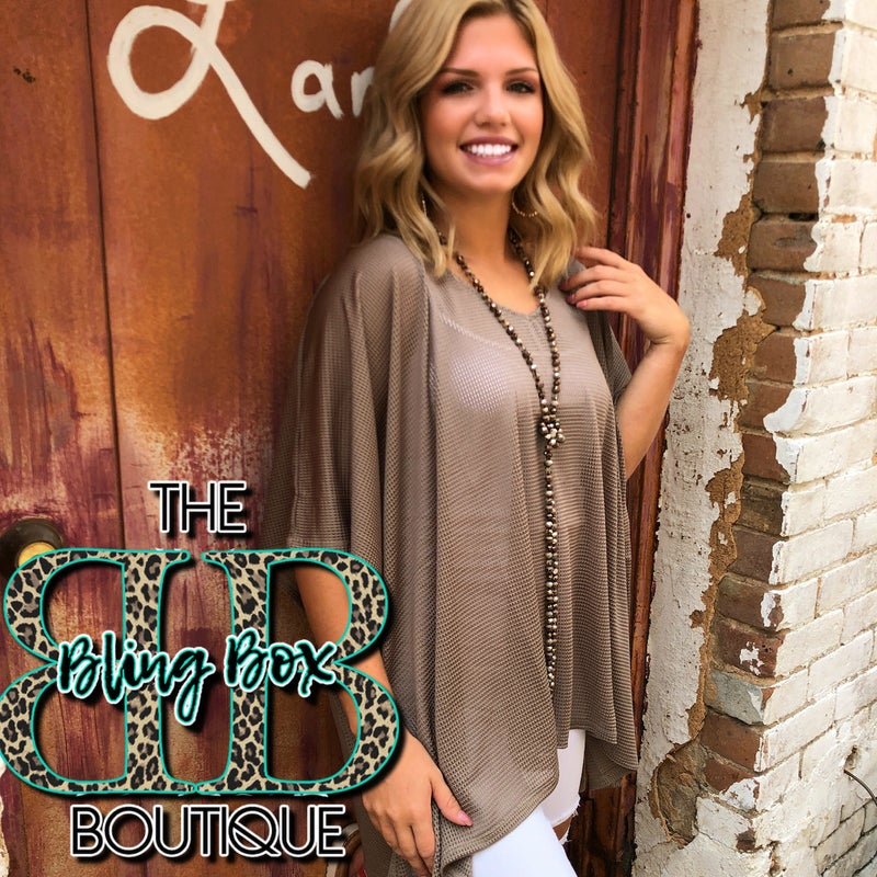 Taupe Open Knit Top