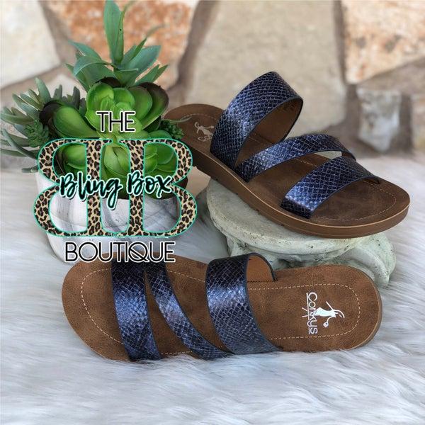 Corkys Lydia Navy Snake Sandals