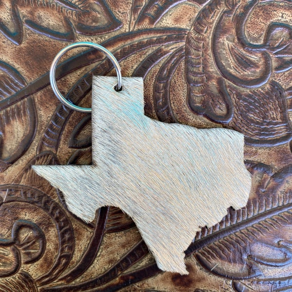 "Leather Cowhide 3"" x 3"" Texas Keychain #7"