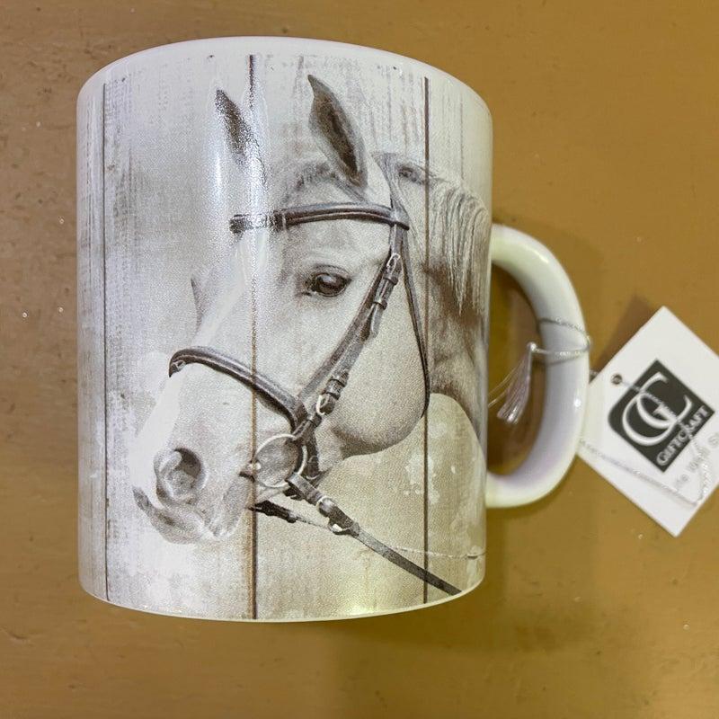 White Horse on White 16 oz. Mug