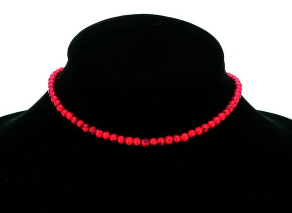 Solid Red 4mm Stone Choker