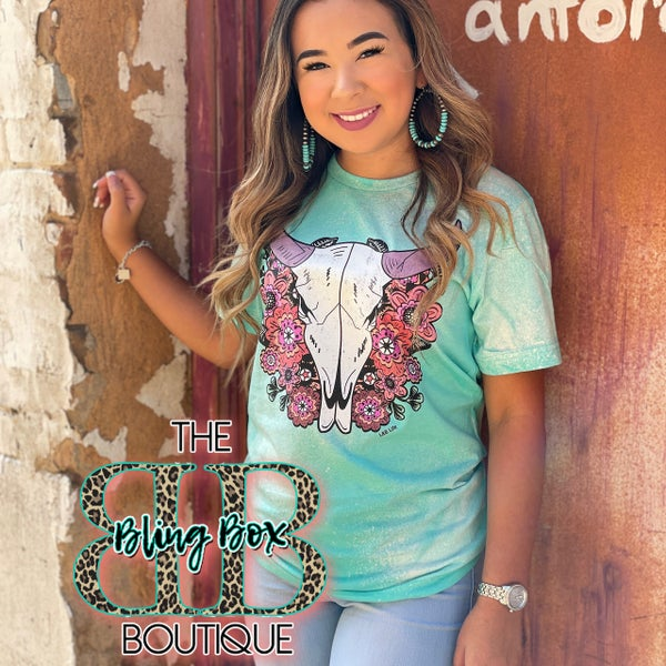 Turquoise Bleached Steer Floral Tee