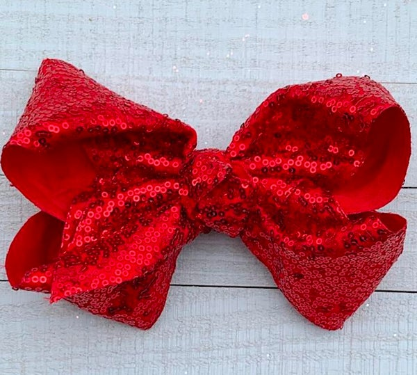 """Red Sequin 7.5"""" W - Hair Bow"""