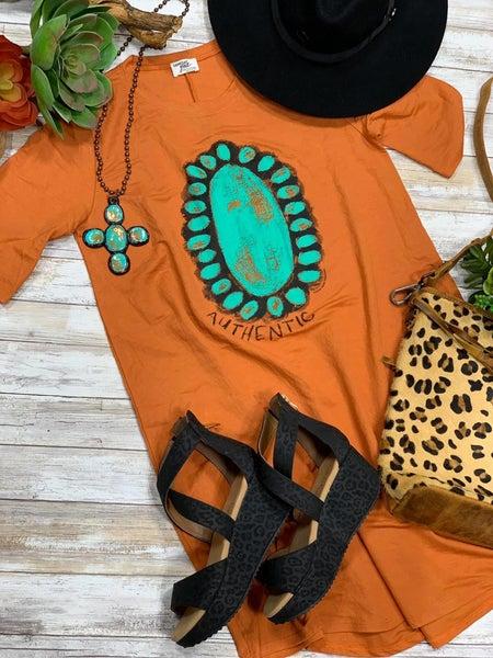 Authentic Turquoise Stone Rust Linen Dress