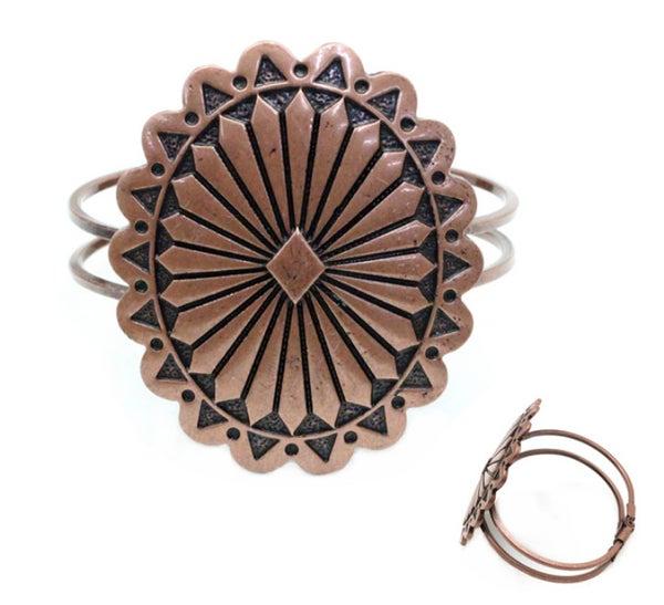 Bronze Western Concho Cuff Bracelet