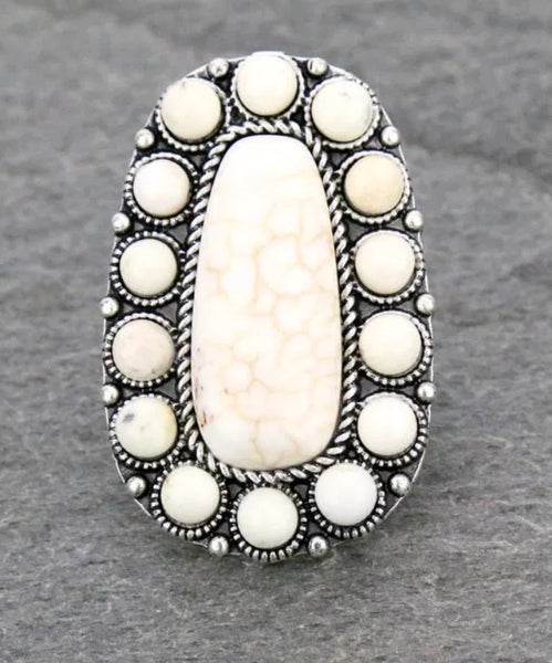 Navajo White Stone Adjustable Ring