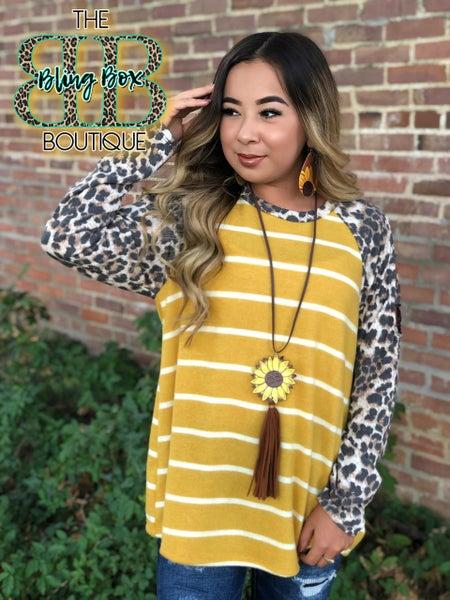 Slit Shoulder Leopard & Mustard Stripe Top