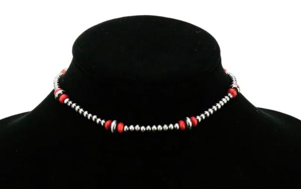 Red Coral & Silver 4mm Navajo Pearl Choker Necklace