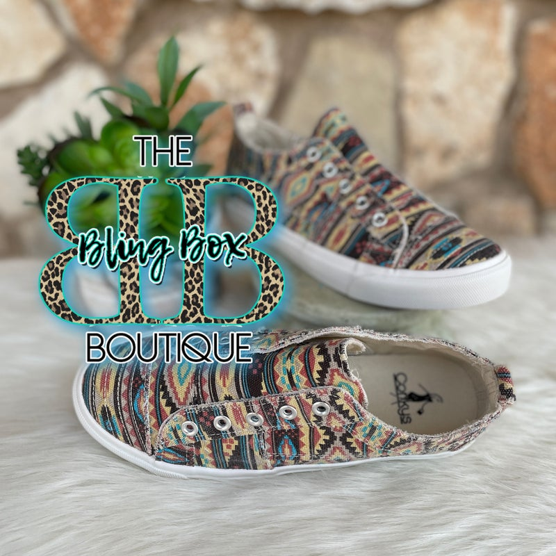 Babalu Pink Aztec Slip on Sneakers