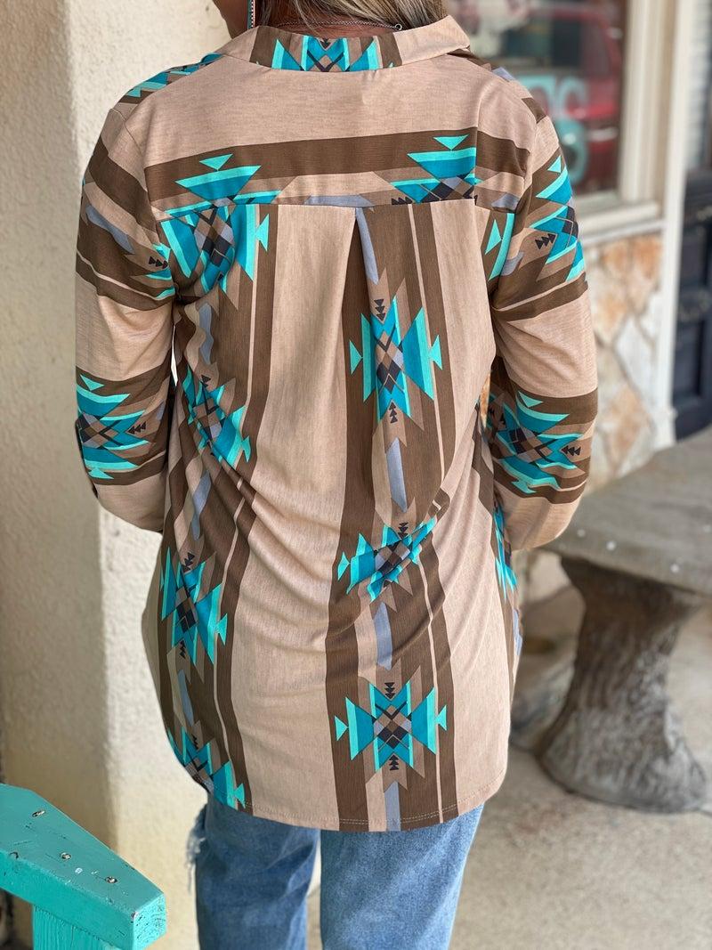 Brown & Turquoise Aztec Print Roll Tab Sleeve Top
