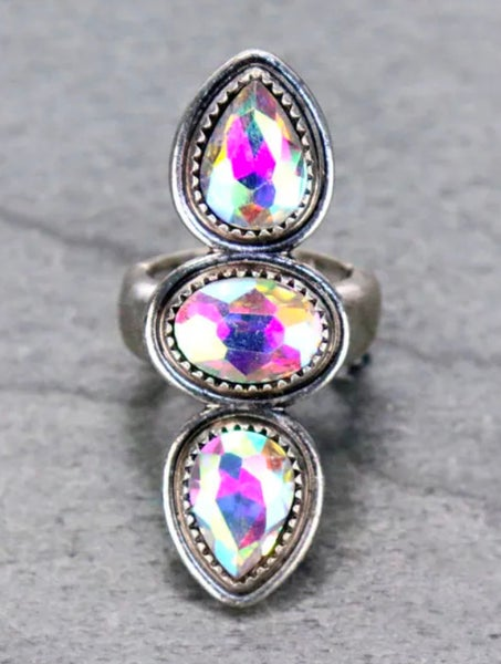 AB Stone Silver Stretch Ring