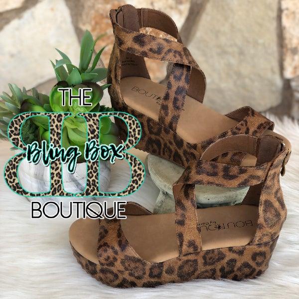Corkys Fay Vintage Leopard Wedge Sandals