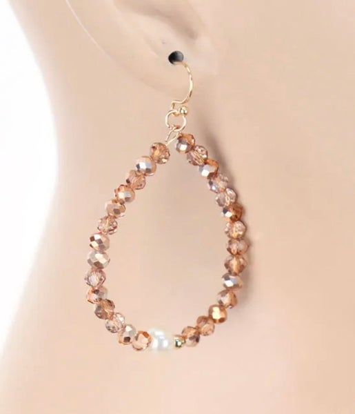 "Rose Gold Crystal Pearl Teardrop 1.5"" L Earrings"