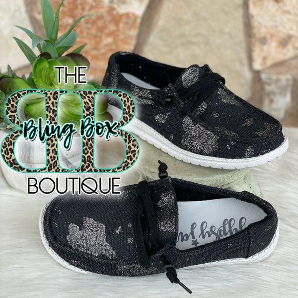 Gypsy Jazz Black Sparkly Cow Tennis Shoes