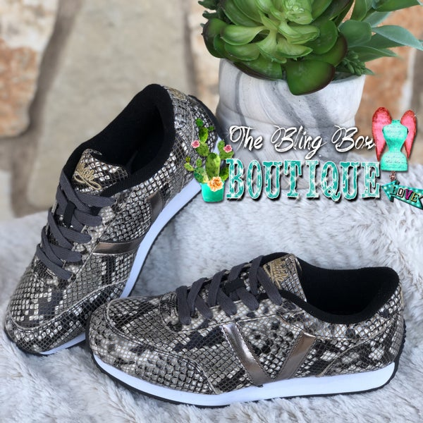 Fitness Taupe Multi Snake Skin Tennis Shoe SIZE