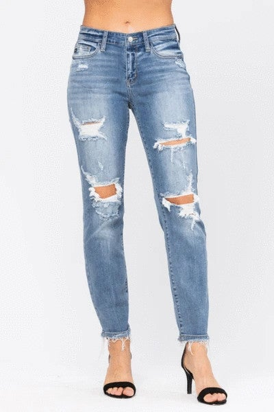 Judy Blue Distressed Mid Rise Jeans