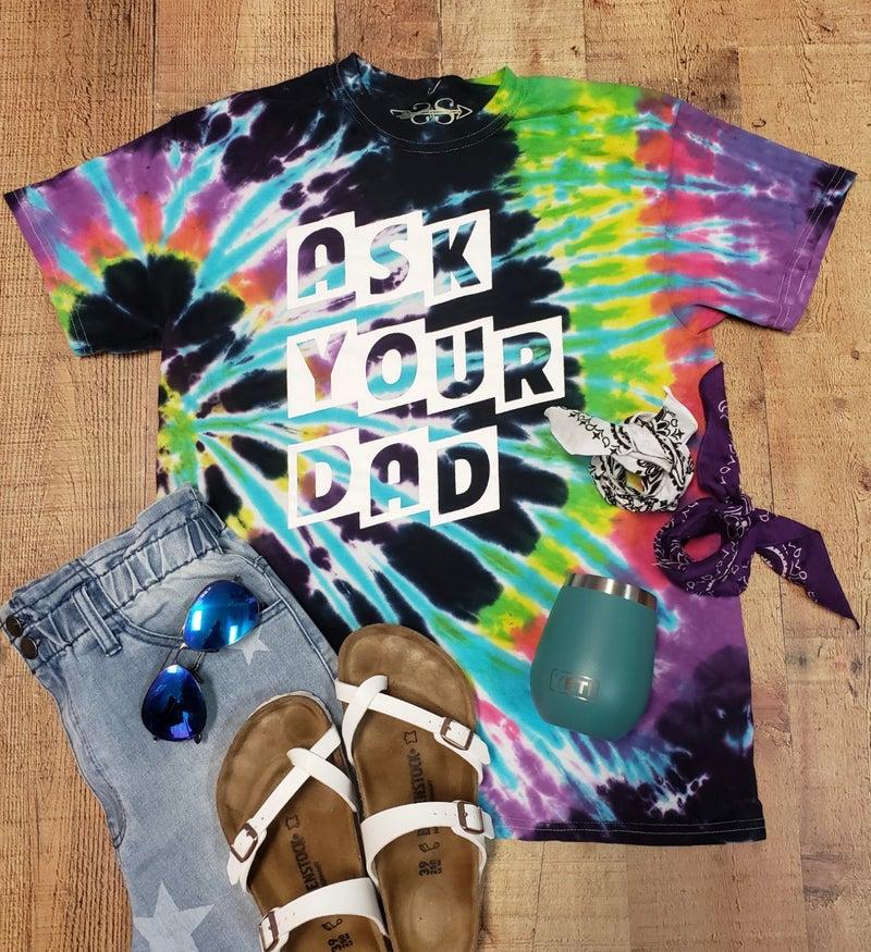 Ask Your Dad Dark Tie Dye T-Shirt
