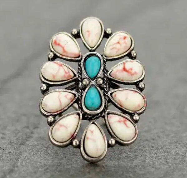 Dakota Cream & Turquoise Ring