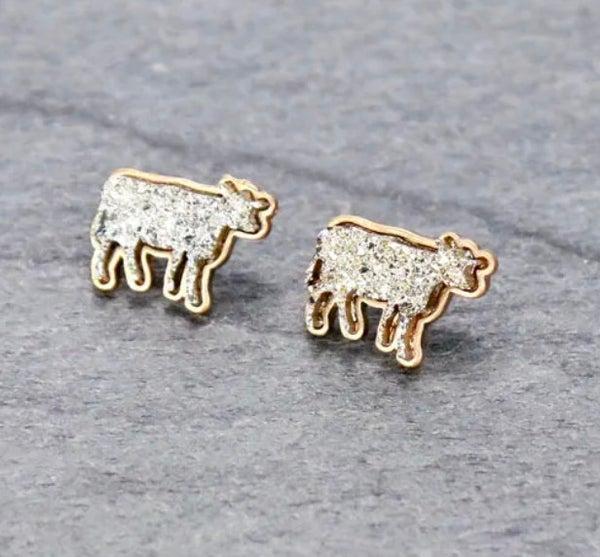 Silver Druzy Cow Stud Earrings