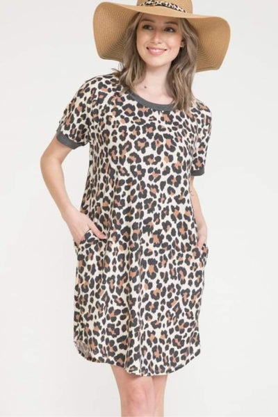 Short Sleeve Cheetah Shift Dress with Pockets