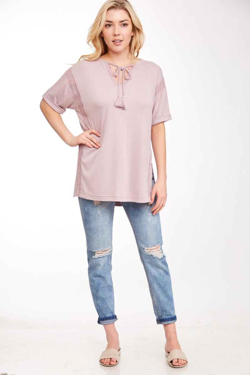 Lilac Lace Trim Neck Tie Top