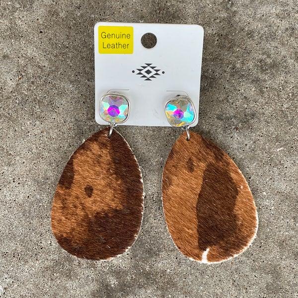 Brown Printed Cowhide Teardrop AB Stud Earrings