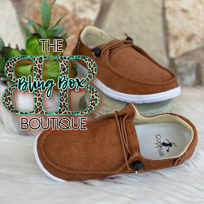 Corkys Kayak Cognac Corduroy Slip On Tennis Shoes