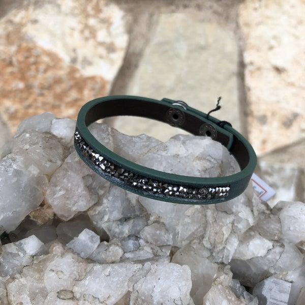 Teal Leather Snap Crystal Bracelet