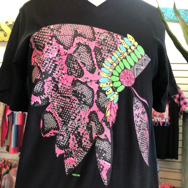 Neon Snakeskin Head Dress on Black V-Neck Tee