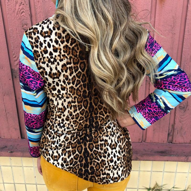 Leopard Blue Serape Mix Long Sleeve Top