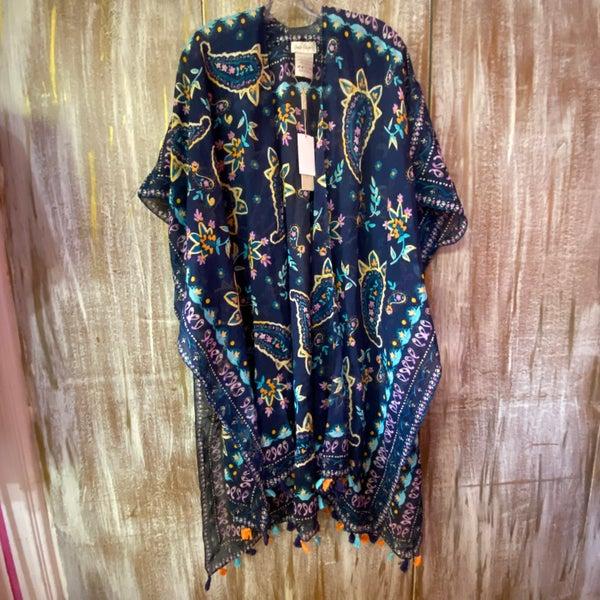ONE SIZE - Navy Floral Tassel Trim Kimono