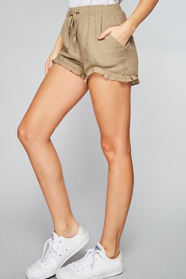 Khaki Ruffled Hem Shorts with Pockets