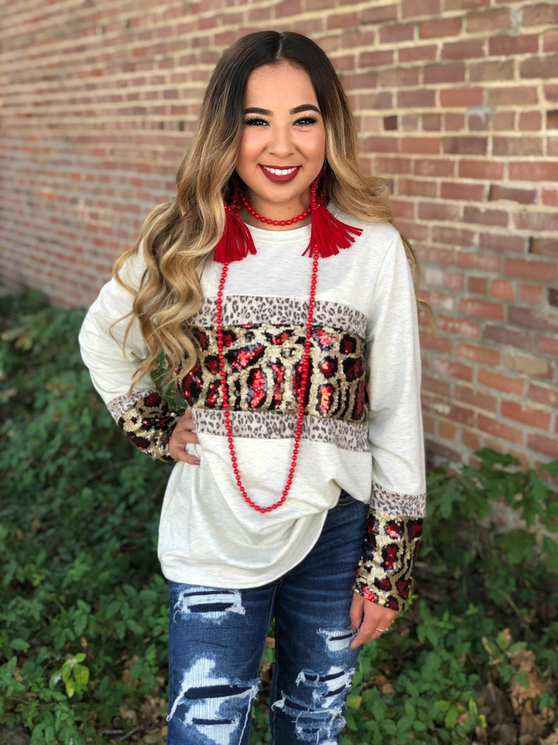 Leopard Sequin Long Sleeve Cream Top
