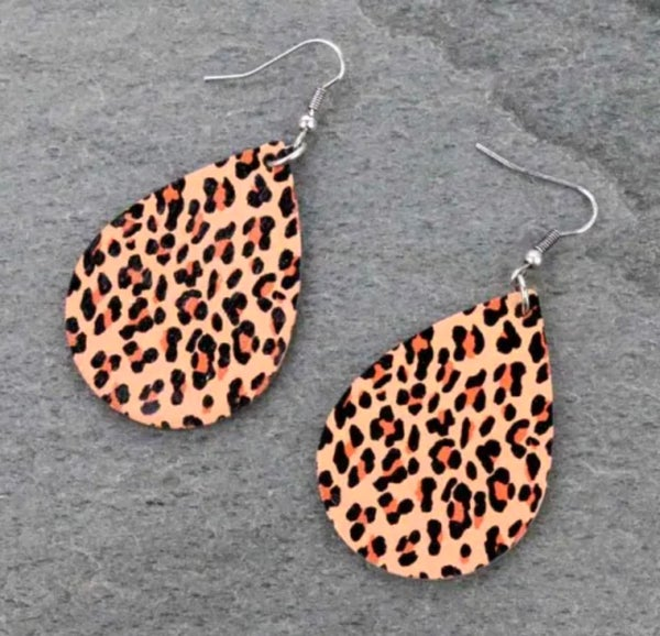 """1-3/4"""" Leopard Wooden Teardrop Earrings"""