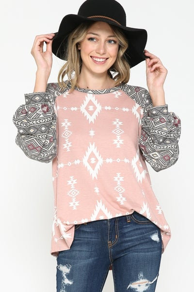 Pink Aztec Top with Border Print Puff Sleeves