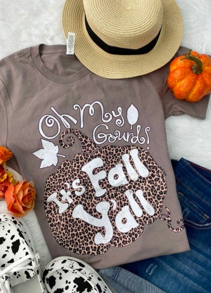 Oh My Gourd!  It's Fall Y'all Leopard Pumpkin Tee