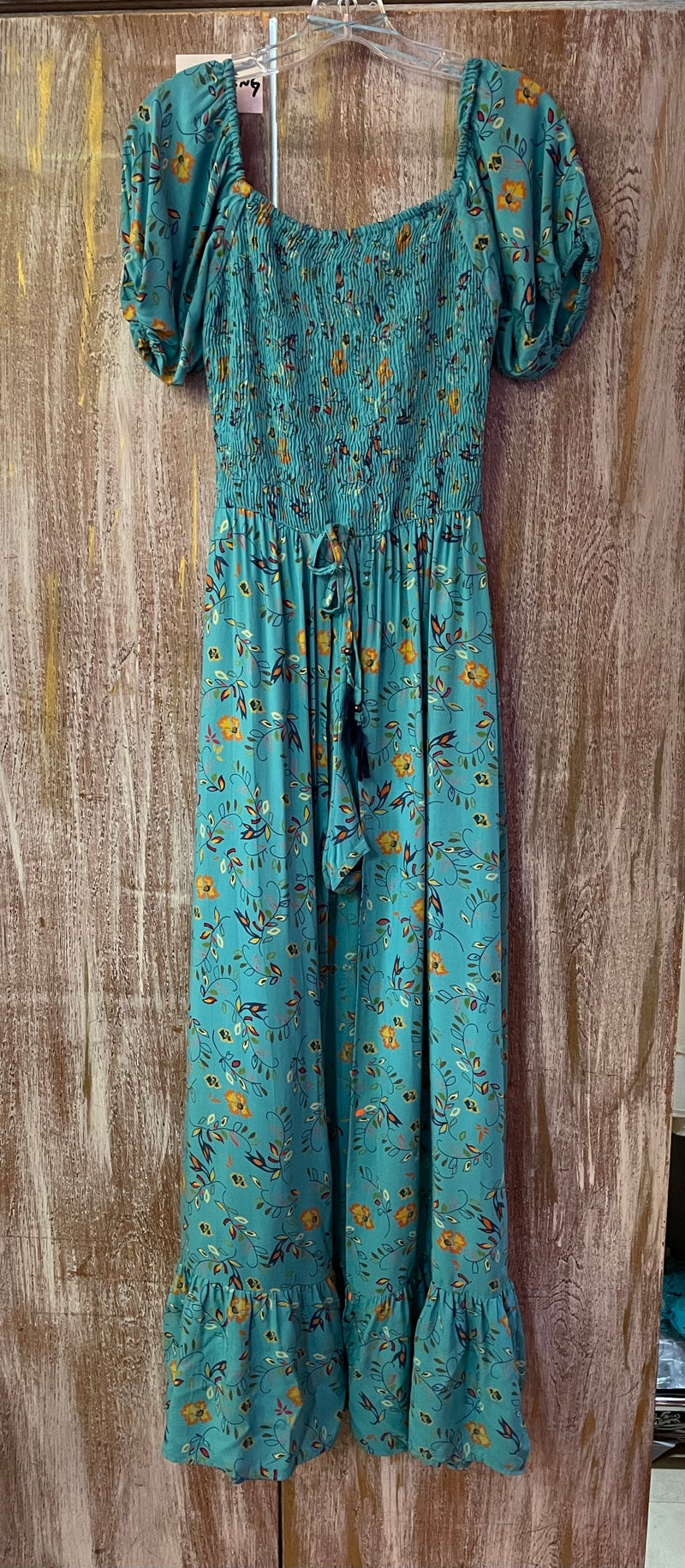 Texas Turquoise Floral Maxi Romper