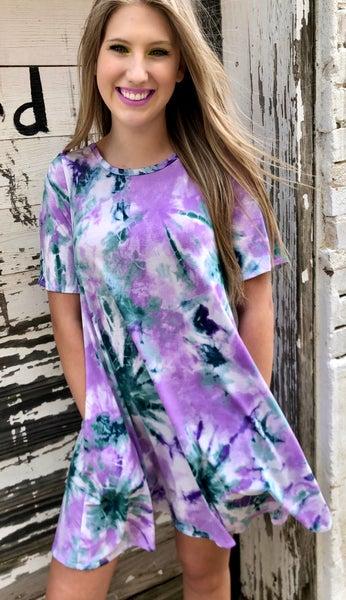 Purple Criss Cross Back Tie Dye Dress w/Pockets