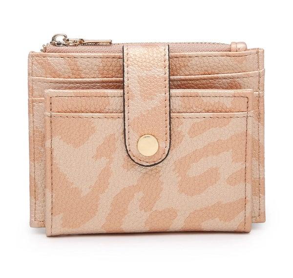 Peach Leopard Sam Mini Snap Wallet/Card Holder