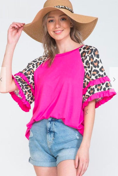 Fuchsia Leopard Ruffle Sleeve Top
