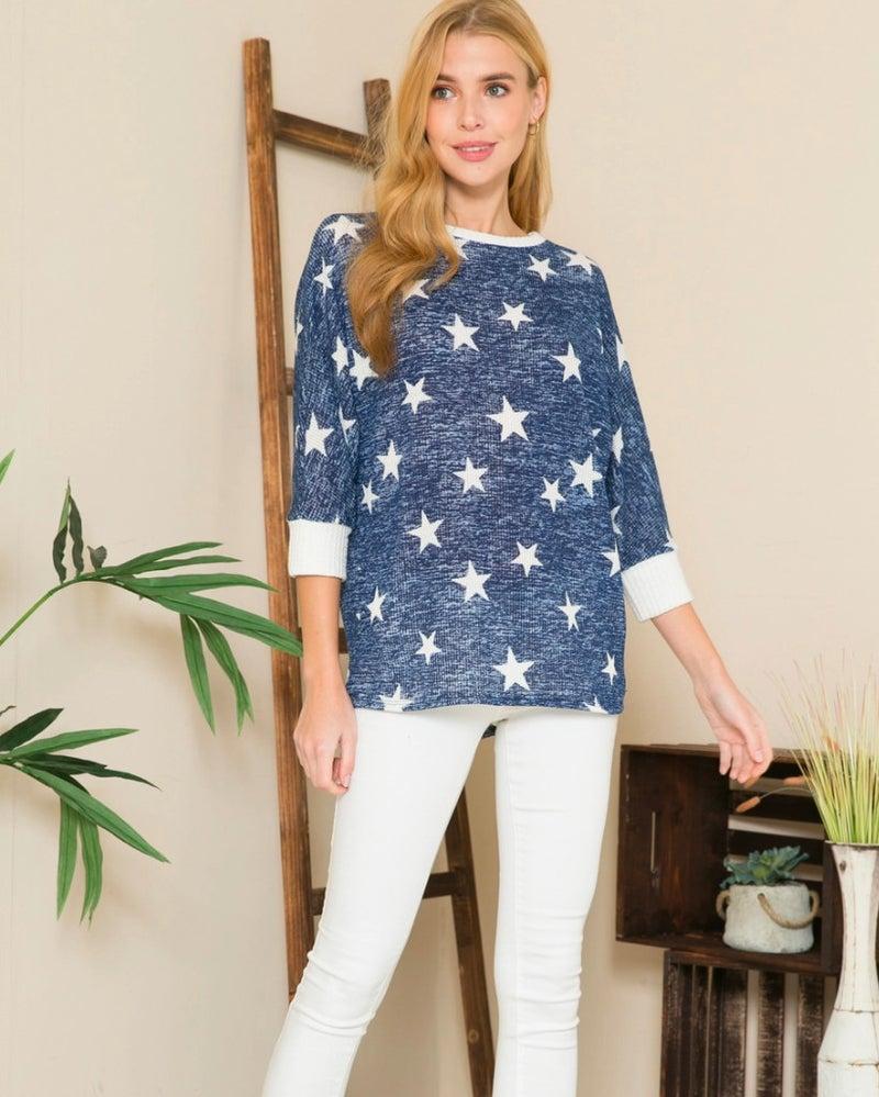PLUS Navy Star Print 3/4 Sleeve Top