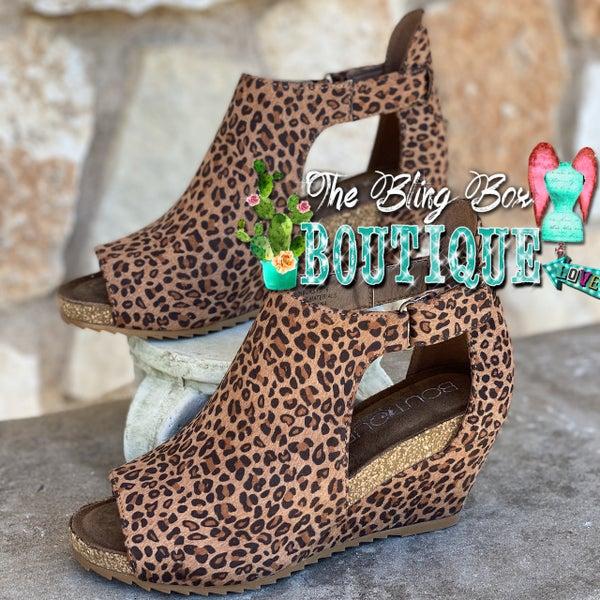 Corkys Small Leopard Sunburst II Wedge Shoes