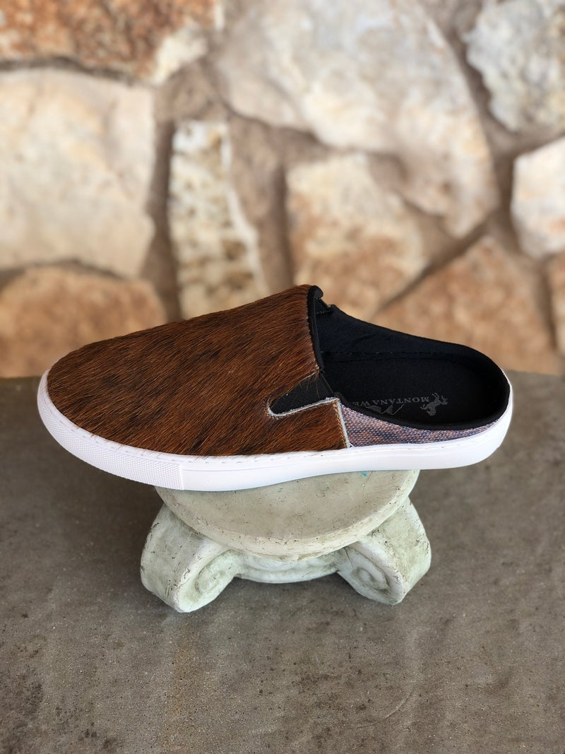 Coffee Genuine Cowhide Slide Shoes SIZE