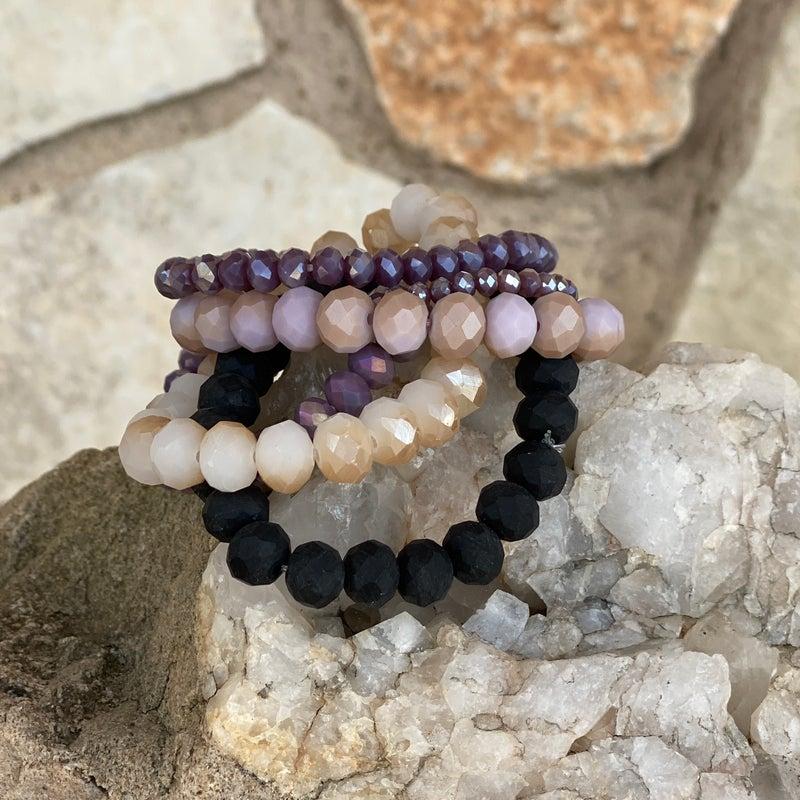 6-Piece Lavendar Matte Stretch Bracelet Set