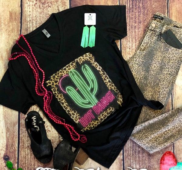Hot Dang Neon Cactus V-Neck T-Shirt