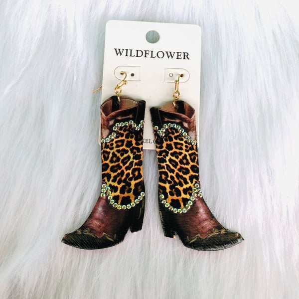 Large Leopard Leather Cowboy Boot Earrings