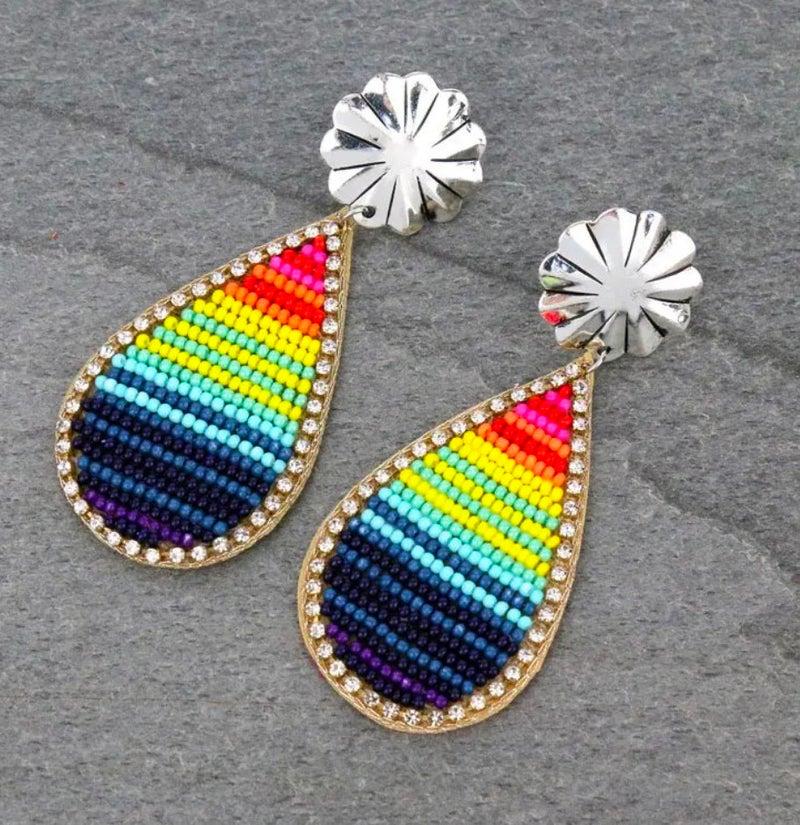 Serape Seed Bead Concho Teardrop Earrings