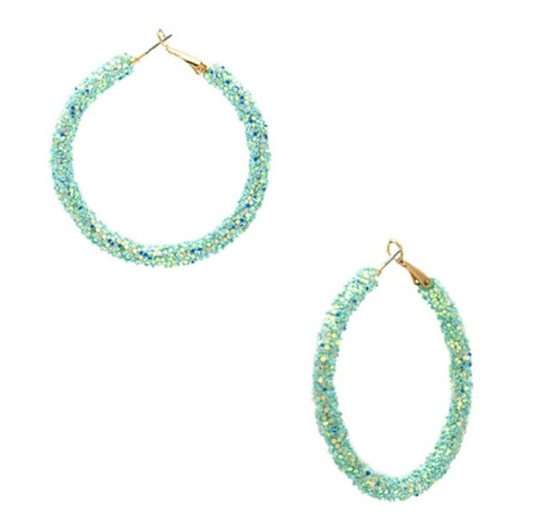 "2.25"" Mint Glitter Hoop Earrings"